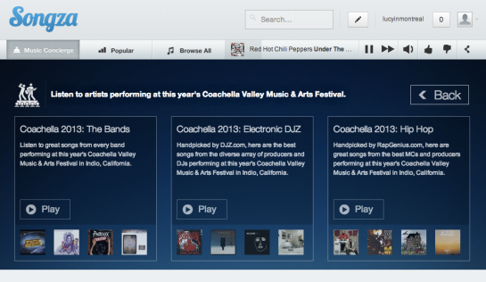 Songza Coachella 2013 plalylists